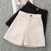 西裝褲 春夏季百搭黑色高腰寬鬆顯瘦休閒鬆緊a字西裝寬管短褲女-Ballet朵朵