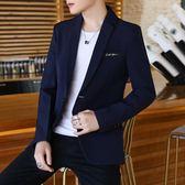 男士西裝夏季韓版修身青年帥氣純色小西服春秋薄款單上衣外套潮流  enjoy精品