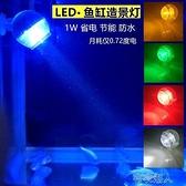 小型魚缸潛水燈迷你七彩變色水中燈LED防水圓型射燈景觀造景照 【快速出貨】