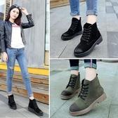 韓版秋新款低跟擦色系帶馬丁靴圓頭時尚粗跟短靴百搭女鞋子