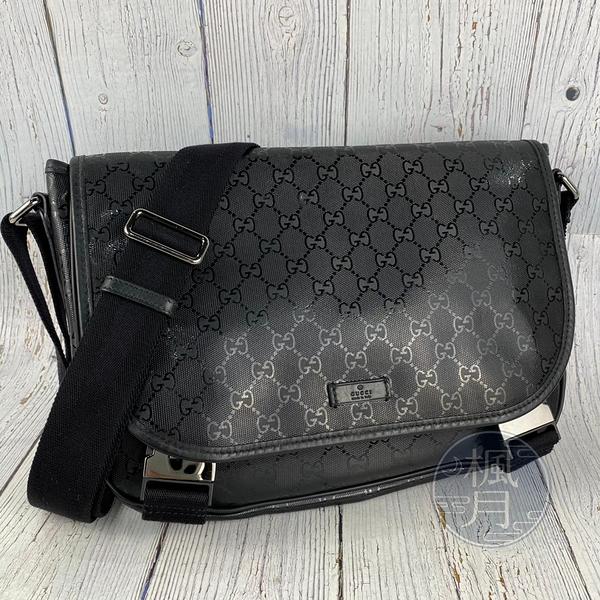 BRAND楓月 GUCCI 古馳 201732 黑PVC郵差包 經典GG紋印花 黑色 斜背包 肩背包 側背包