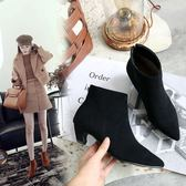 {丁果時尚}大尺碼女鞋34-46►韓版甜美風絨皮尖頭踝靴中跟短靴*5色