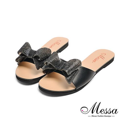 【Messa米莎專櫃女鞋】MIT閃亮蝴蝶一字寬帶平底拖鞋-黑色