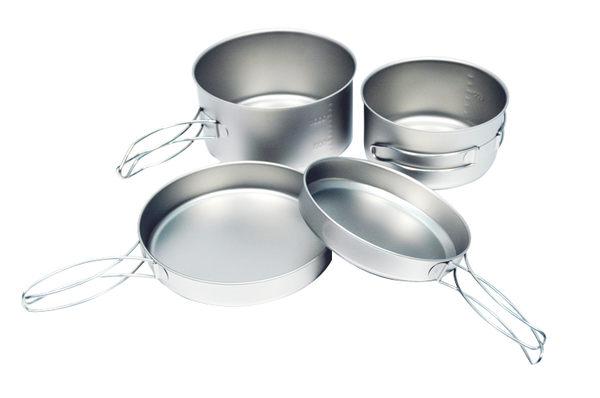 ╭OUTDOOR NICE╮日本EPIGAS T-8008 鈦BP炊具組 2鍋2蓋 0.8L/1.35L 鈦鍋 登山露營 團體餐具 個人餐具