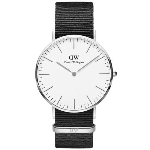 DW 簡約風格 36mm DW00100260 銀框 黑色 尼龍手錶