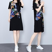 洋裝連身裙中大尺碼M-4XL假兩件拼接中裙小個子遮肚顯瘦大碼T卹裙4F101-8860.胖妹大碼