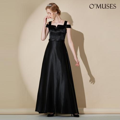 OMUSES V領露肩伴娘婚紗訂製黑色長禮服