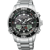 全台限量100只 CITIZEN 星辰 PROMASTER 光動能萬年曆手錶-黑x銀/44mm JR4060-88E