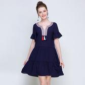 中大尺碼~個性v領荷葉袖口優雅短袖洋裝(XL)