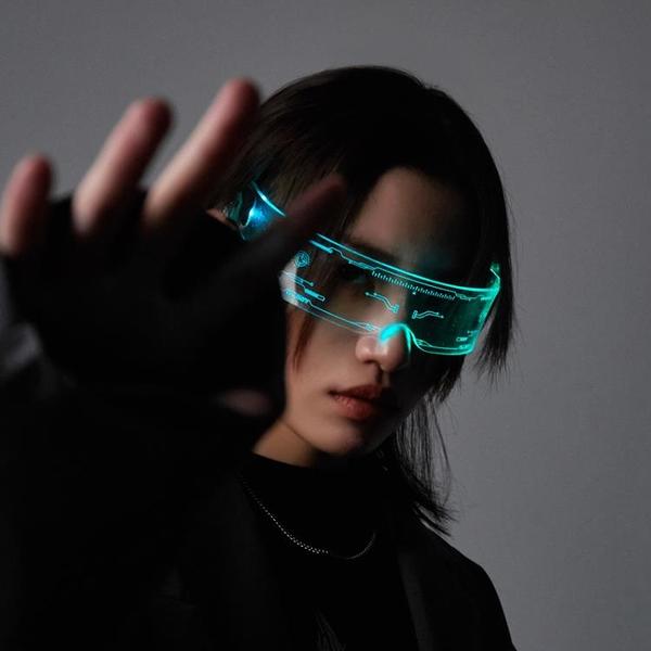發光眼鏡 賽博朋克未來科技感發光護目眼鏡科幻LED眼鏡蹦迪搖擺拍照ins潮牌 米家