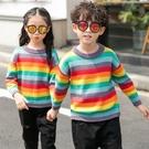 彩虹條紋毛線針織衫長袖上衣親子裝(小孩)