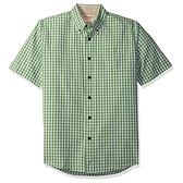 Wrangler 藍哥男短袖經典格子襯衫(森林綠)