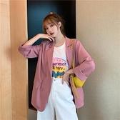 91白色西裝外套女夏季薄款韓版寬松設計感小眾休閑西服中長