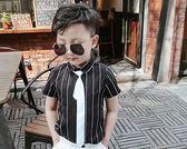 男童豎條紋短袖T恤夏季潮白黑灰色短袖襯衫