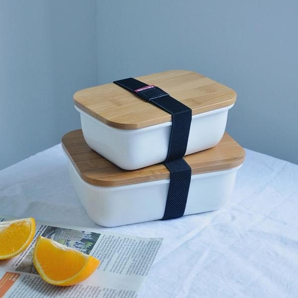 日式簡約陶瓷飯盒便當盒帶蓋學生微波爐加熱飯盒女上班族成人餐盒 快速出貨