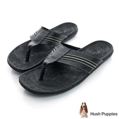 Hush Puppies-亞麻大底超彈力夾腳拖鞋-黑色
