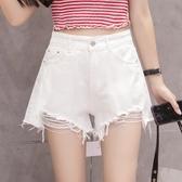高腰牛仔短褲女夏2020新款韓版學生寬鬆百搭白色闊腿破洞毛邊熱褲