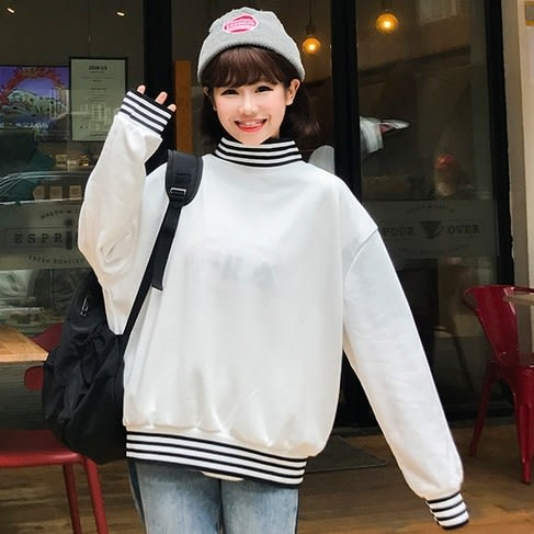 EASON SHOP(GU7658)韓版簡約撞色細橫條紋拼接刷毛小高領長袖T恤女上衣服大學T落肩寬鬆素色棉T黑色