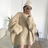 2019秋冬新款韓版慵懶風加厚外穿上衣寬鬆針織衫中長款套頭毛衣女