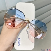 墨鏡 2021新款無邊框切邊墨鏡女韓版潮網紅圓臉大框顯瘦防紫外線太陽鏡 coco