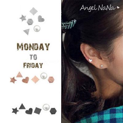 925純銀耳環。AngelNaNa  三角星星愛心淡水珍珠6件式不對稱迷你-耳釘耳針耳飾銀飾 (SRA0504)