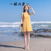 2018夏季新款女裝寬鬆顯瘦A字裙氣質無袖民族風掛脖連身裙夏裙子【櫻花本鋪】