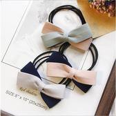 韓國拼色蝴蝶結兔耳朵髮束 髮圈 髮繩 髮飾 皮筋 頭繩 甜美 飾品 混色出貨