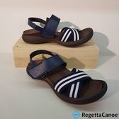 RegettaCanoe 女款 日本原裝 足弓支撐 健康涼鞋 魔鬼沾 藍白條紋 - 0771