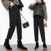 毛呢闊腿褲女秋冬學生韓版寬鬆顯瘦九分百搭高腰直筒褲蘿卜休閒褲『小宅妮時尚』