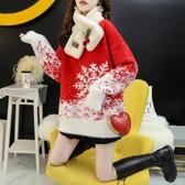 紅色圣誕款雪花毛衣女2019新款秋冬寬鬆外穿加厚網紅百搭甜美上衣