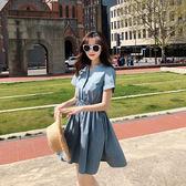 VK旗艦店 韓國風學院風鬆緊收腰開領顯瘦短袖洋裝