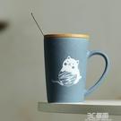 馬克杯帶蓋勺咖啡杯簡約卡通可愛 ins創意陶瓷水杯子【貓系列】 3C優購