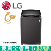 LG樂金17KG第3代DD直立式變頻洗衣機WT-D170MSG含配送+安裝【愛買】
