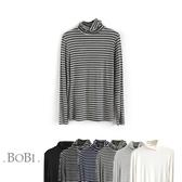 T恤 條紋高領顯瘦長袖T恤【MZTX1671】 BOBI  10/27