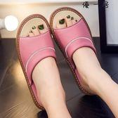 夏季居家木地板羊皮拖鞋室內居家真皮防滑涼拖鞋