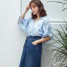 CANTWO直條花型綁袖襯衫-共兩色~春...