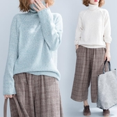 彩線高領毛衣女秋冬新品復古寬鬆大尺碼顯瘦百搭針織長袖上衣慵懶風