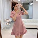出清388 韓系淑女復古感大娃娃領收腰格紋短袖洋裝