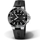 Oris豪利時Aquis時間之海300米潛水錶 0173377324134-0742164FC 黑x橡膠