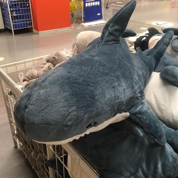 玩偶 鯊魚抱枕公仔毛絨玩具網紅可愛布娃娃床上睡覺玩偶靠墊生日禮物女TW【快速出貨八折下殺】