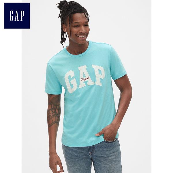 Gap男裝 Logo圓領短袖T恤 443765-藍綠色