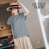 Queen Shop【01095799】滿版配色格紋圓領上衣 兩色售*預購*