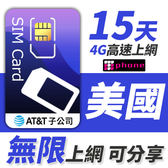 AT&T 美國無限通話上網型 可分享10GB超大流量 15天