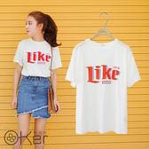 LINE撞色醒目T恤+不規則裙襬牛仔裙兩件式套裝 O-Ker歐珂兒 LL18191-C