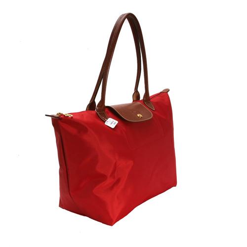 LONGCHAMP經典長提把中型尼龍摺疊水餃包(紅色)480132-7
