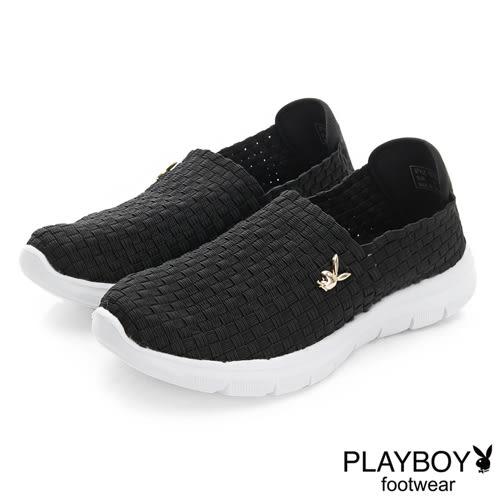 PLAYBOY 炫彩時尚 輕量編織休閒便鞋-黑