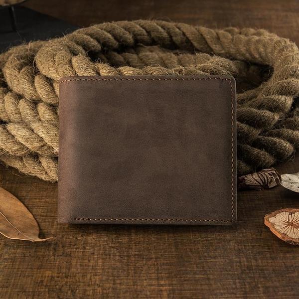原創設計頭層牛皮男士短款錢包復古男真皮錢夾橫款多卡位皮夾卡包