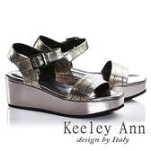 ★零碼出清★Keeley Ann魅惑科技風質感壓紋真皮厚底涼鞋(古銅色)-Ann系列