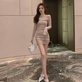 秋冬新款打底裙修身一字領露肩性感緊身包臀女人味連身 『洛小仙女鞋』