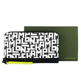 【南紡購物中心】LONGCHAMP LE PLIAGE LGP系列滿版字母拉鍊長夾(黑X白)